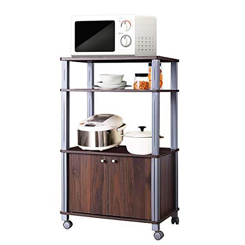 COSTWAY Küchenregal für Mikrowelle, Mikrowellenregal auf Rollen, Standregal Küche, Küchenwagen Beistellwagen Haushaltsregal (Dunkelbraun)
