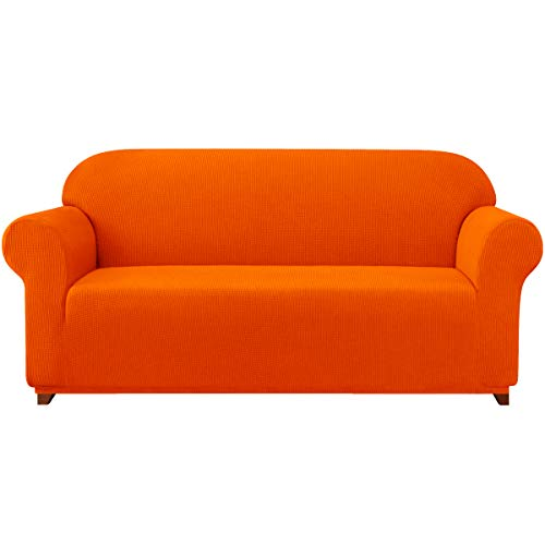 subrtex Sofa Cover 1-Piece Stretch Couch Slipcover Soft Couch Cover Washable Furniture Covers, Jacquard Fabric Small Checks(Orange,Large)