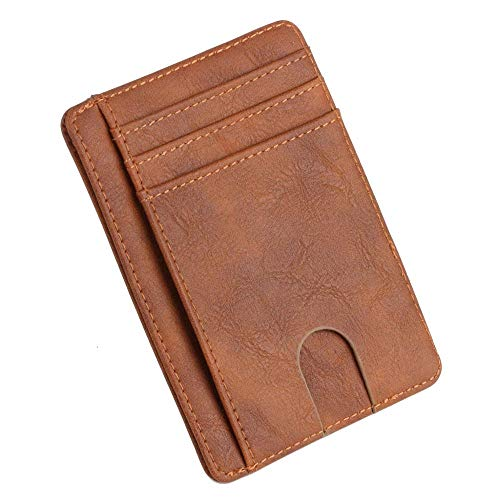 tarjetero Slim RFID BLOQUEO DE CUERO DE CUERO DE CUERPO DE CARRITAS DE TARJETA DE LA TARJETA DE LA TARJETA DE DINERO PARA HOMBRES MUJERES 11.5x8x0.5cm Titular de los casos de tarjeta ( Color : BN )
