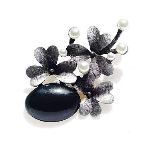 Broches de flores de piedra para mujer, broche de metal vintage para banquete, broche grande y hermoso para bufanda, broche negro