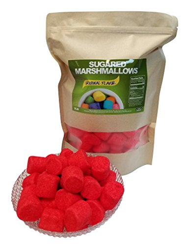 Sugared Marshmallows Red 2 Pounds 100 Pieces - Red Candy