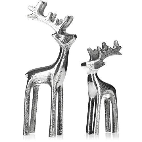 com-four Juego de Figuras de Renos de 2 Partes - Figura Decorativa de Aluminio - Accesorio de Navidad y Elegante decoración para el Invierno (02 Piezas - Mix1)
