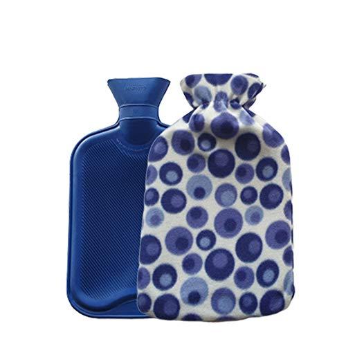 Wärmflasche mit weichem Fleecebezug, groß, 2 l Fassungsvermögen, beidseitig gerippt, Blau mit Punkten