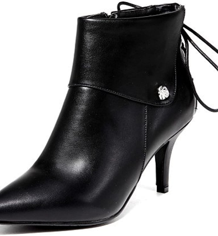 XZZ  Damenschuhe - Stiefel - Kleid   Lssig - Kunstleder - Stckelabsatz - Spitzschuh   Modische Stiefel - Schwarz   Beige