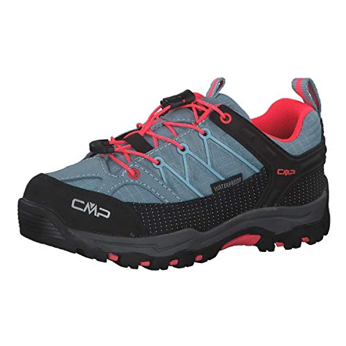 CMP – F.lli Campagnolo Unisex-Kinder Kids Rigel Low Shoe Wp Trekking-& Wanderhalbschuhe, Türkis (Clorophilla-Red Fluo 89bd), 28 EU