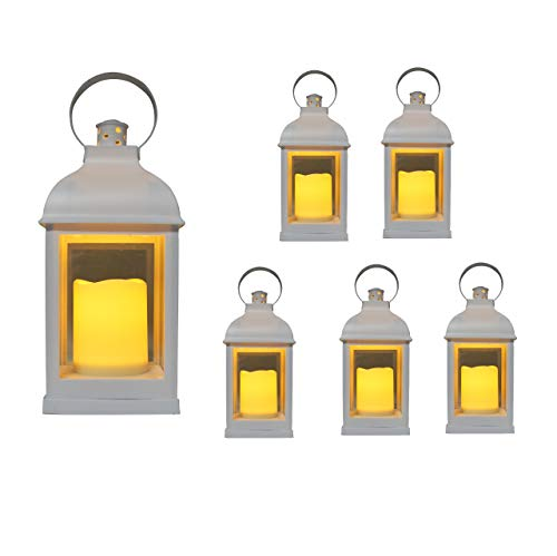 'Just In Time for Weddings' {6pc Set} 10' Decorative Lanterns + L E D Lighted Candle w/ Flickering + 5 Hr Timer Antique Looking for Indoor Ambient Home, Outdoor Patio or Party Lights, Weddings - White