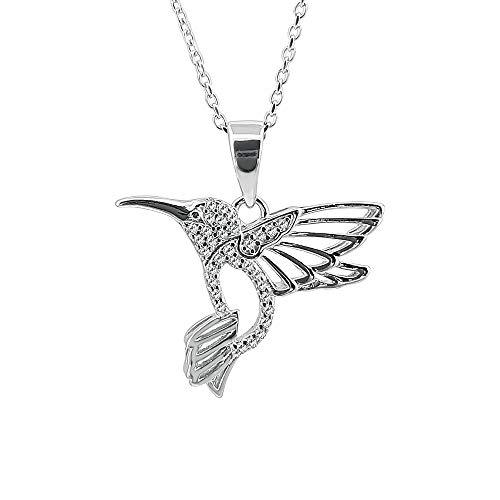 Kiara gioielli in argento Sterling 925collana in argento Sterling colibrì su 45,7cm traccia o catena.
