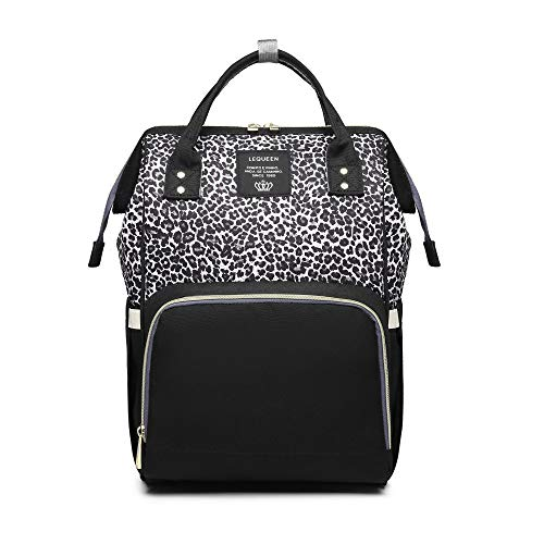 Baby Changing Bag, Lequeen Diaper Bag with Changing Mat Multi-Function Large Capacity Waterproof Nappy Bag for Mom and Dad (Black Leopard)