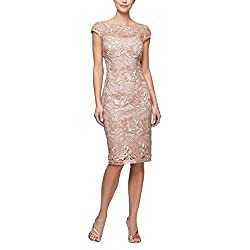 Rose Gold Shift Midi Lace Embroidered Dress With Sequins