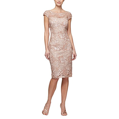 Alex Evenings Women's Midi Length Embroidered Dress, Rose Gold, 12