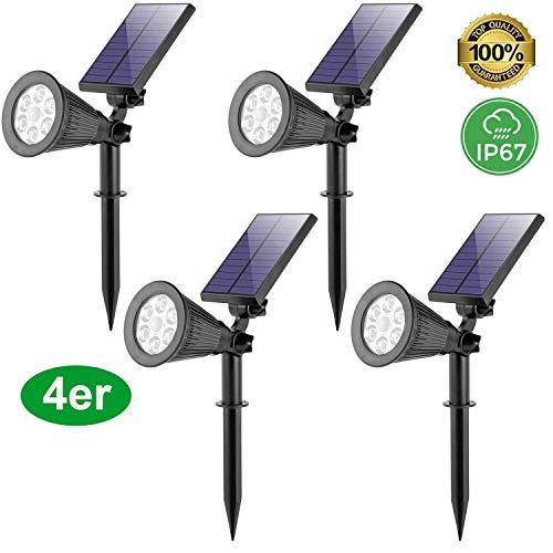 4 Stück LED Gartenleuchten Soleil Superhelle Solarbetriebene, Outdoor Spotlight mit Lichtsensor Wasserdicht für die Hinterhöfe Gärten Rasen Wandlampe Wand Terrasse Treppen Warmweiß