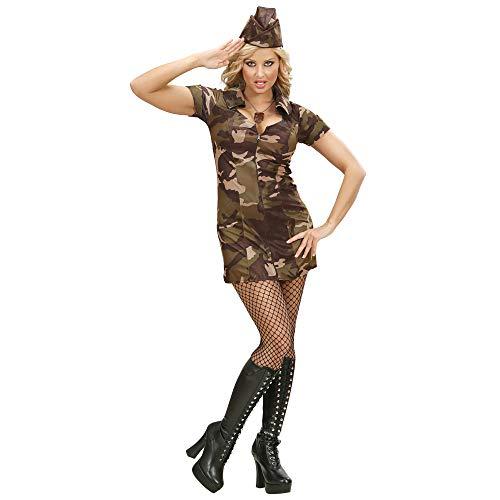 Widmann 70472 - Erwachsenenkostüm Soldatin, Kleid und Hut, Tarnfarbe, Größe M