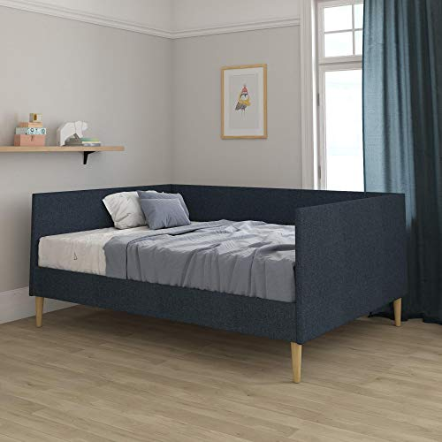 DHP Franklin Mid Century Upholstered, Full Size, Navy Linen Daybed, Blue