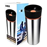 Travel Coffee Mug with 360° Drinking Lid, EMISK Leak-Proof Vacuum Insulated Tumbler, Double Walls Stainless Steel Thermal Travel Cup for Hot and Ice Cold Water Beverages (Orange)