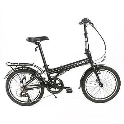 EuroMini ZiZZO Heavy Duty Forte 29lb Folding Bike-Lightweight Aluminum Frame Genuine Shimano 7-Speed 20-Inch Folding Bike with Fenders, Rack and 300 lb. Weight Limit (Black)
