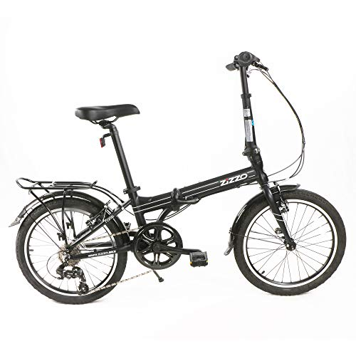 EuroMini ZiZZO Heavy Duty Forte 29lb Folding Bike-Lightweight Aluminum Frame Genuine Shimano 7-Speed 20-Inch Folding Bike with Fenders, Rack and 300 lb. Weight Limit (Black) (16053)