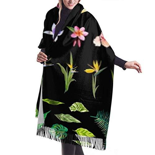 Accesorios de Vestidos, Manta, Tapiz, Bufanda con Flecos, Conjunto de Elementos de diseño de Flores Tropicales Bufanda Grande Premium Vintage Bufandas de Mujer