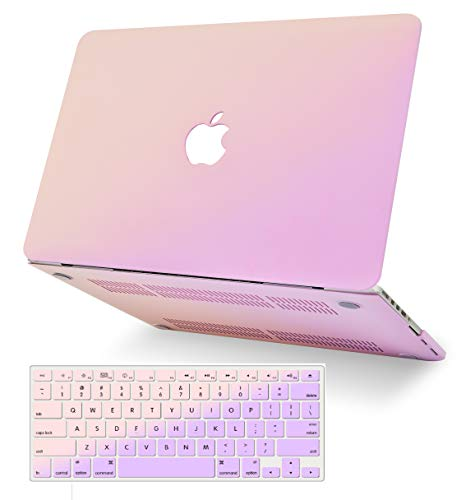 KECC Laptop Case for MacBook Pro 13' (2020) w/Keyboard Cover Plastic Hard Shell A2289/A2251 Touch Bar 2 in 1 Bundle (Pale Pink Lavender)