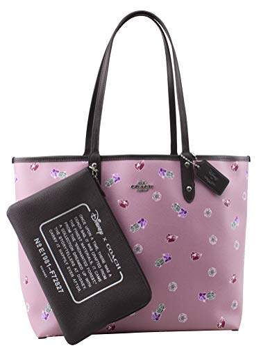 Disney X CoachReversible City Tote with Snow White and the Seven Dwarfs Gem Print, Tulip, Multi, Oxblood