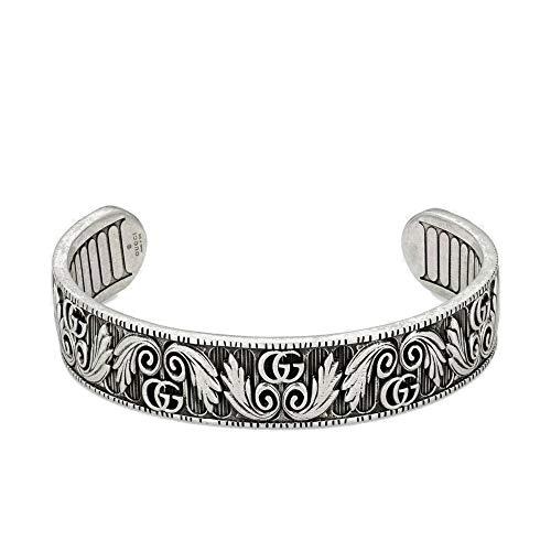 Gucci YBA551907001017 - Pulsera de marmont con doble G y diseño de hoja (17 cm)