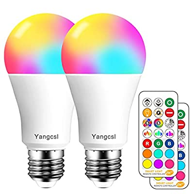 Yangcsl LED Light Bulb 75W Equivalent, RGB Color Changing Light Bulb, 6 Moods - Memory - Sync - Dimmable, A19 E26 Screw Base, Timing Remote Control Included