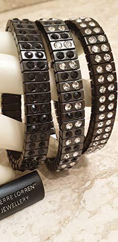 Juego de 3 pulseras de Swarovski negras para mujer 96 diamantes de color gris plomizo regalo de joyería para señora conjuntos de pulseras de regalo de cumpleaños para ella joyería hecha a mano
