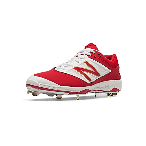 New Balance Men's L4040V3 Metal Cleat Baseball Shoe, Color: Red/White