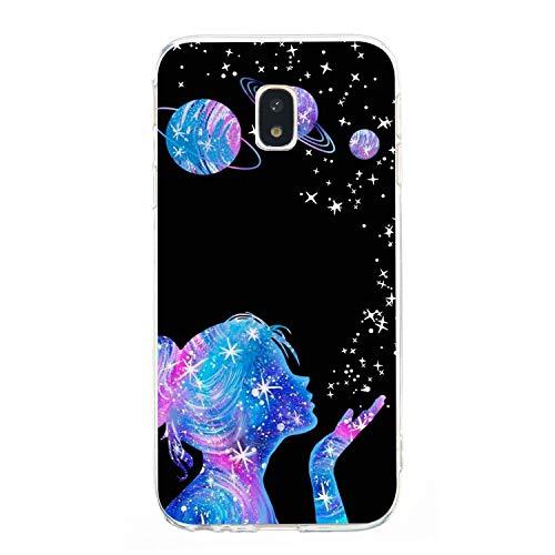 Everainy Coque Compatible pour Samsung Galaxy J3 2017 Silicone Housse Étui Transparente Souple Bumper Ultra Mince Fine Etui Caoutchouc Antichoc Case Motif Cover (Fille)