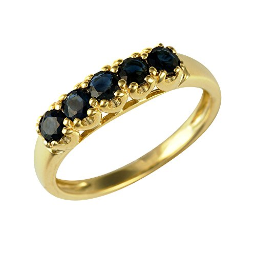 Ivy Gems 9ct Yellow Gold Sapphire Half Eternity Ring - Size N