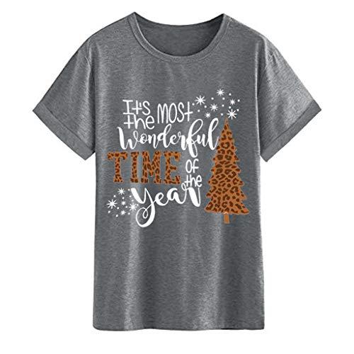 LODDD Christmas Women T-Shirt Cute Letter Print Short Sleeve O-Neck Tunic Blouse Tops