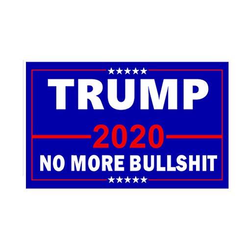 Amosfun Donald Trump Flagge 2020 Trump Präsident Fahnen No More Bullshit Flagge für Wahlzubehör 150x90cm (Blau)