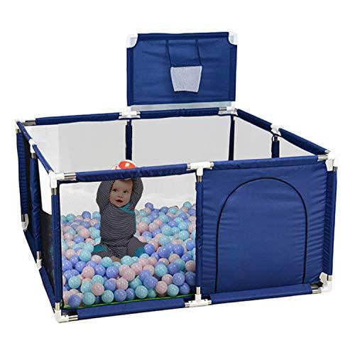 Parque infantil plegable (sin pelota), 120 x 120 cm, de tela Oxford, con canasta de baloncesto, antideslizante y transpirable (azul)