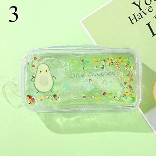 LZJE School Supplies Quicksand Estuche de lápices de Aguacate Bolsa de lápices de Alta Capacidad Estuche de lápices de Brillo Transparente para niñas Estuche de lápices, 3