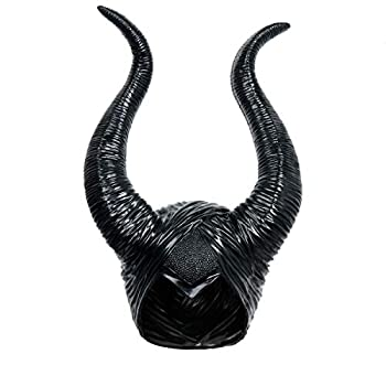 Black Long Halloween Costume Queen Horns Hat Deluxe Magic Witch Headpiece Headdress for Women Girls Adult