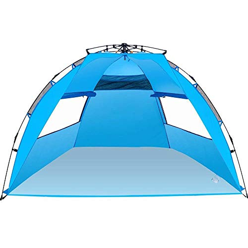 Amagoing 3-4 Person Instant Pop Up Beach Tent Sun Shelter Family Beach Umbrella for Outdoor Hiking Fishing Camping Picnic