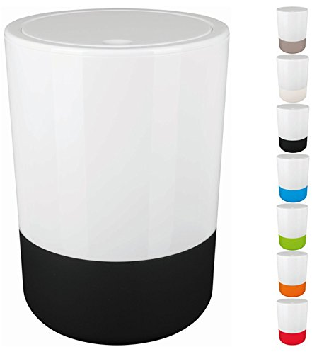Spirella Design Poubelle à couvercle pivotant Moji Avec anneau pour fixer les sacs poubelle Salle de bains 5 Litres Poubelle à cosmétiques Récipient à ordures Avec socle en silicone finition Soft Touch (ØxH): 19 x 26 cm Blanc/Noir