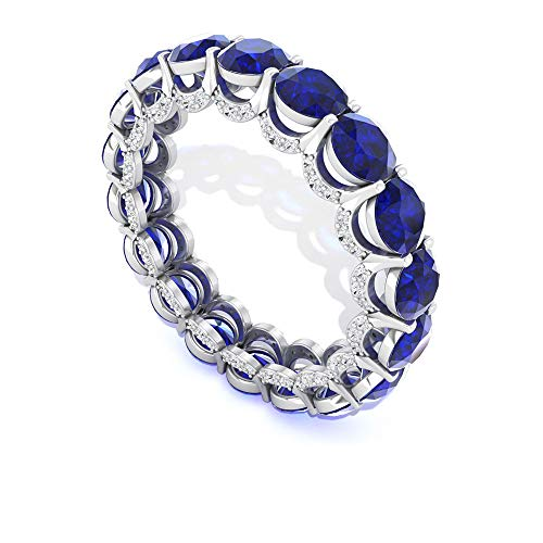 Anillo de eternidad completo con diamantes de zafiro de 6,55 quilates, con certificado SGL, estilo vintage, anillo de piedra de nacimiento antiguo, anillo de promesa de oro de 14 quilates