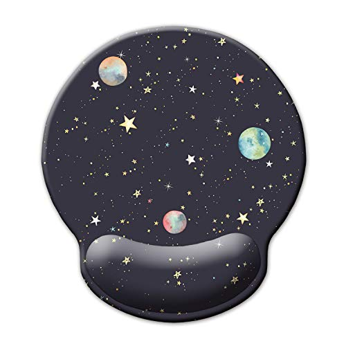 Ergonomic Mouse Pad with Wrist Support,Dooke Cute Wrist Pad with Non-Slip Rubber Base for Computer, Laptop, Home Office Gaming, Working, Easy Typing & Pain Relief,Planets