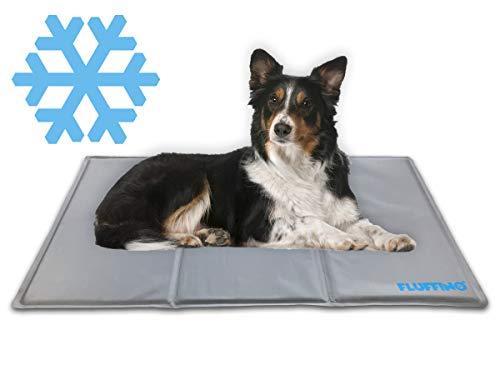 FLUFFINO® Kühlmatte - Selbstkühlend, abwischbar und grau (Größe: 90 x 50 cm) - Für große u. kleine Hunde