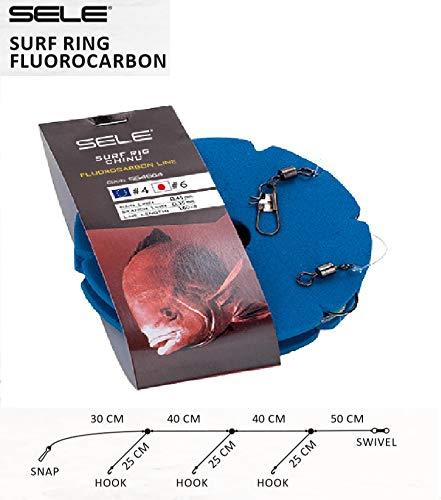 Montatura terminale da Surf Casting, in fluorocarbon 0.45mm e Tre barccioli dello 0.35mm con ami Numero 4