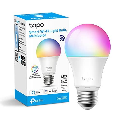 TP-Link Lampadina WiFi Intelligente LED Smart Multicolore, E27 Lampadina Compatibile con Alexa e Google Home, 806 lumen, 8.7W, Senza hub richiesto, Controllo Remoto tramite APP Tapo (Tapo L530E)