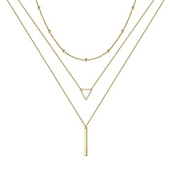 Gold Triangle Layered Necklaces for Women - Layered Necklace Skinny Bar Stacking Necklace Triangle Necklace Layer Necklace Multi Bar Layered Necklaces for Women