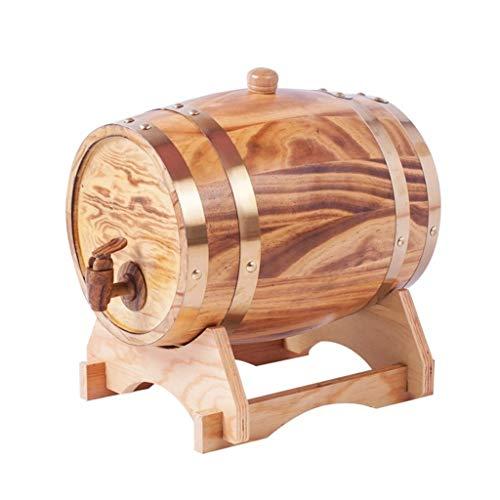 Ann-Portaghiaccio Botte di Rovere in Legno di Vino Botte di Rovere, Distributore di Secchio di Whisky in Legno in Stile retrò per Conservare Il Tuo Whisky di Vino Invecchiato (15L)