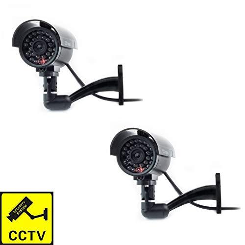 Digicharge® Onecht Dummy CCTV Camera Binnen OF Buiten CCTV Beveiliging Imitatie Surveillance Cam Knipperende LED (2 STKS)