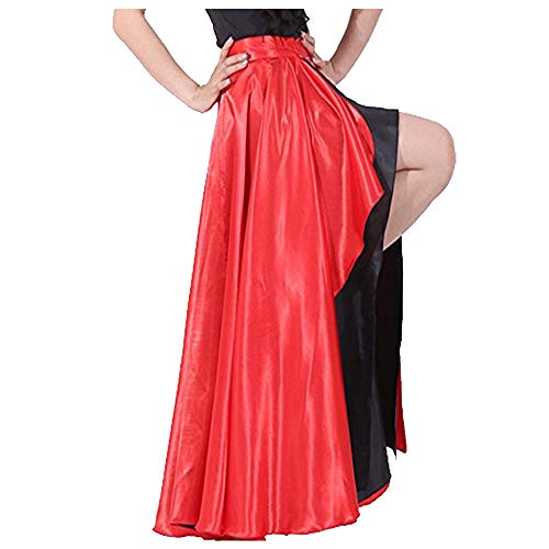 スペイン語ブルダンススカート大人Flamenco 2つレイヤーサテンジプシードレスレッド/外側ブラック内側
