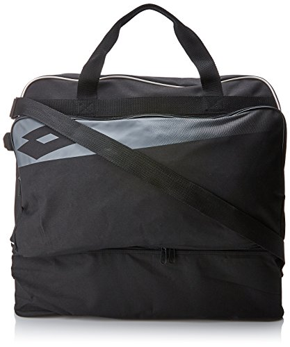 Lotto Soccer Omega II, Bolsa de tela y de playa para Hombre, Negro (Blk/Gry Cem) 36x24x45 cm