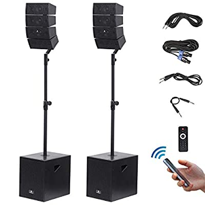 PRORECK Club 3000 12-Inch 3000 Watt DJ/Powered PA Speaker System Combo Set with Bluetooth/USB/SD Card/Remote Control (Two Subwoofers and 8X Array Speakers Set) from PRORECK AUDIO