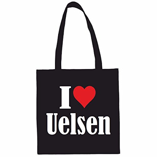 I Love Uelsen Winkeltas schooltas sporttas 38x 42cm in zwart of wit... het ideale cadeau voor Kerstmis - Verjaardag - Pasen of gewoon voor jezelf... het ideale geschenk voor Kerstmis - Verjaardag - Eas