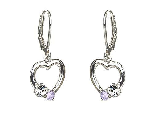 Traveller oorbellen voor kinderen hart van zilver violet - 545209