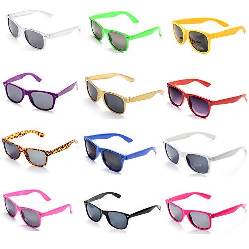 OAONNEA 12 Pares Años 80 Neon Gafas de Sol de Colores Fiesta Adulto Niños(Multicolor)